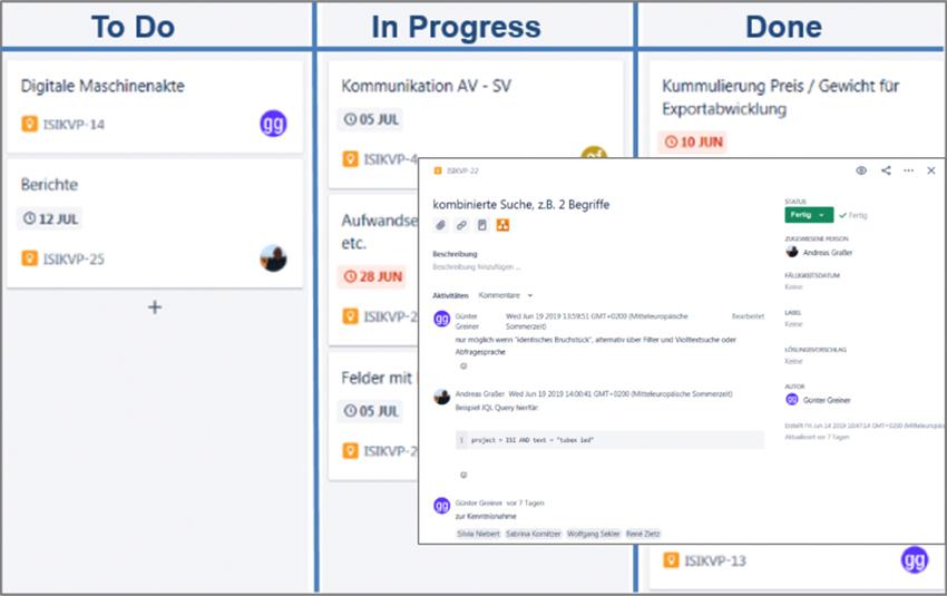 Digitales KVP-Board mit Detailansicht eines Vorschlages
