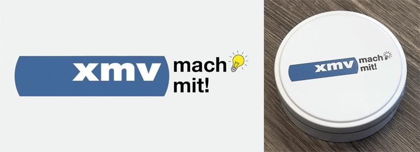 Bilder: xmv-Logo und Dröpsli-Dose
